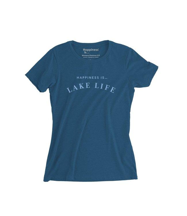 Happiness is... Lake Life t-shirt-Sea Blue
