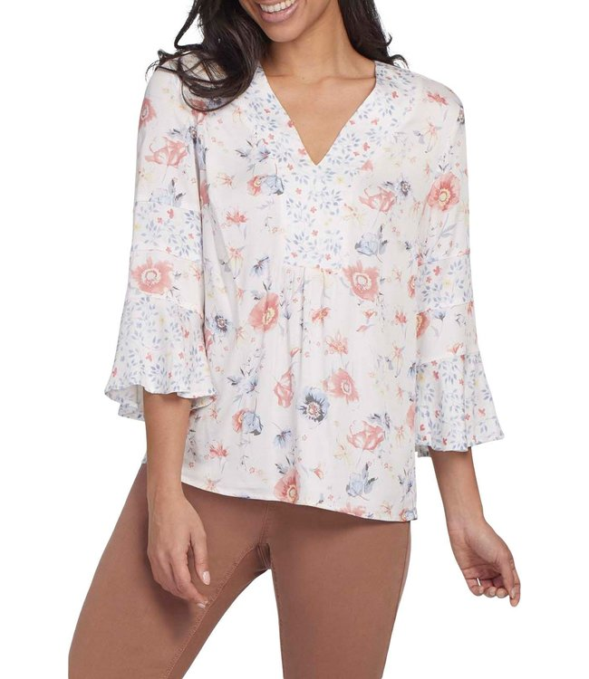 Tribal Bell Sleeve Blouse -Pink Dew
