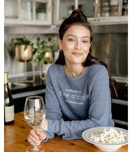 Happiness is... Women's 5 O'Clock  Crew Sweatshirt-Heather Navy
