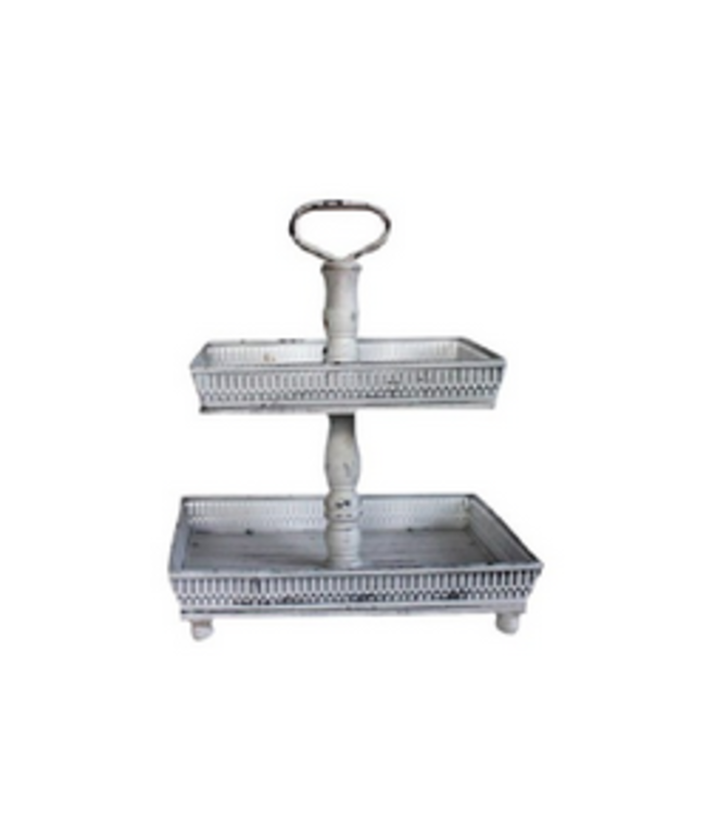 2 tier decrative tray- white