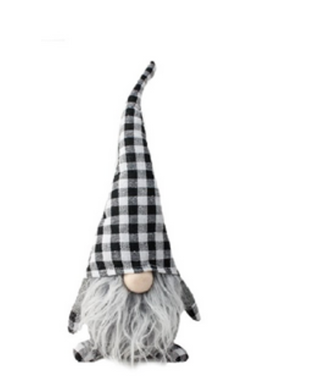 Gnome Small- Grey with Plaid Hat