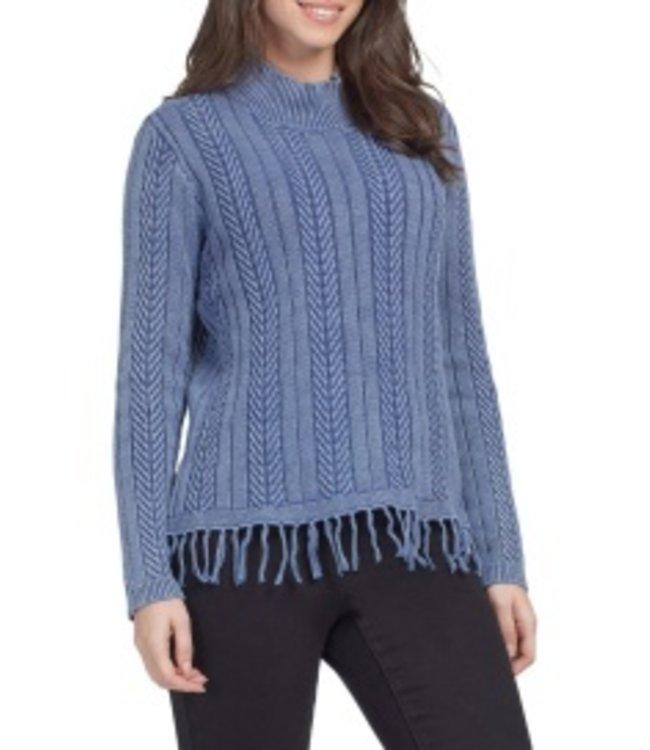 Tribal Sweater with Fringe - Denim