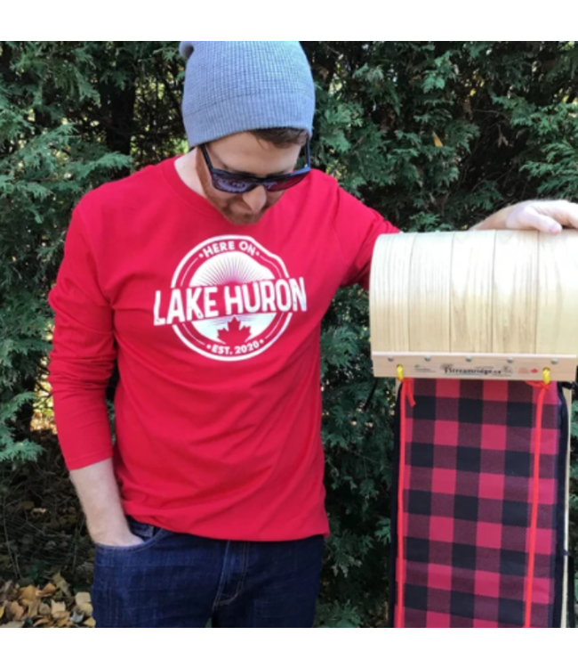Here on Lake Huron Long Sleeve -Holiday Red