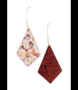 Cork House Design Kite earrings-Autumn Breeze/Burnt sienna
