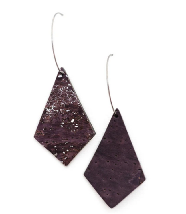 Cork House Design Kite earrings-Mulberry Wave/cork