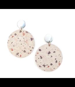Cork House Design Round drops earrings-Terrazzo/Port