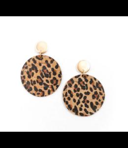 Cork House Design Round drops earrings- Leopard print