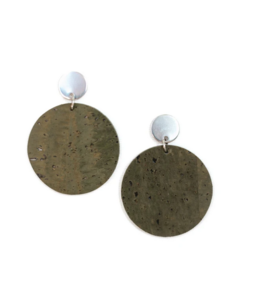 Cork House Design Round drops earrings- Moss Cork