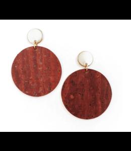 Cork House Design Round drops earrings- Burnt Sienna/Autumn breeze