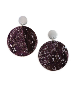 Cork House Design Round drops earrings- Mulberry wave/Mulberry cork