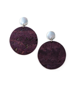 Cork House Design Round drops earrings- Mulberry/Mulberry Wave cork