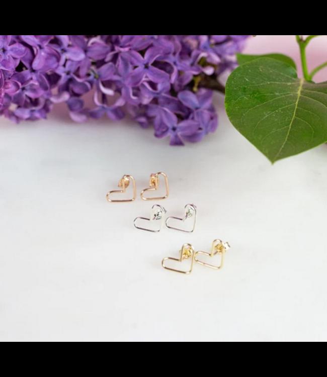 Ari Elle Jewelry Heart studs- Sterling silver