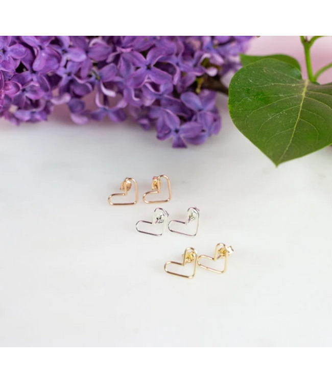 Ari Elle Jewelry Heart studs- 14k gold filled
