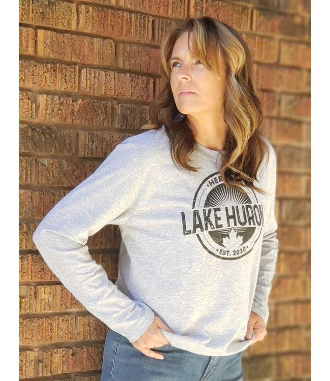 Here on Lake Huron Long Sleeve- Light grey