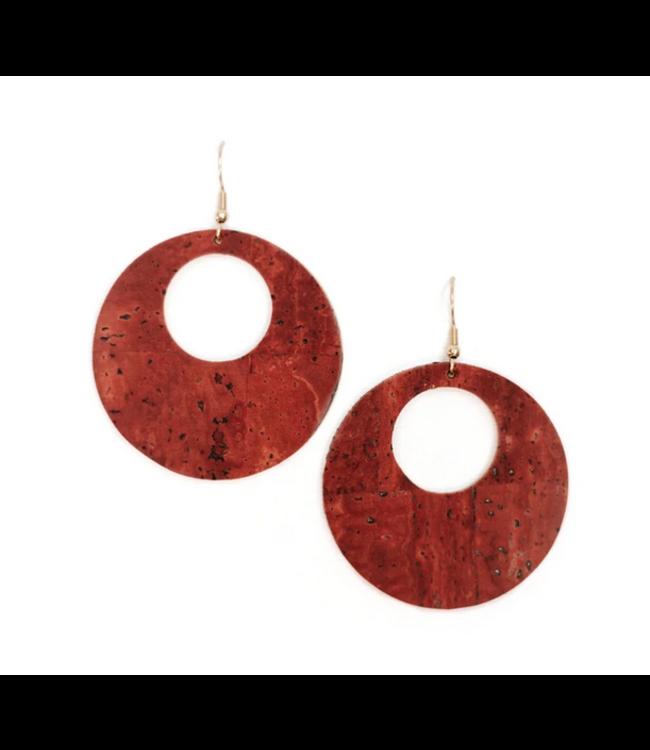 Cork House Design Eclipses earrings-Burnt sienna/Autumn breeze