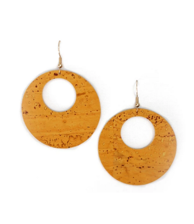Cork House Design Eclipses Earrings- Mustard Cork