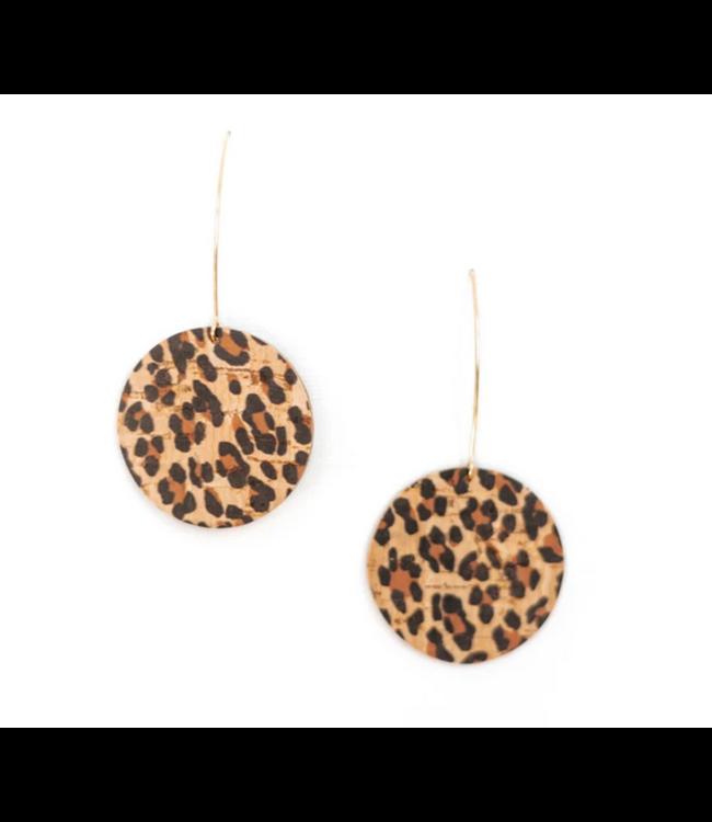 Cork House Design Wishbone Earrings- Leopard Print