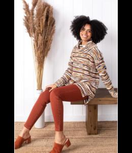 Tribal Cowl Neck Sweater - Tawny
