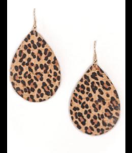 Cork House Design Teardrop Earrings- Leopard Print