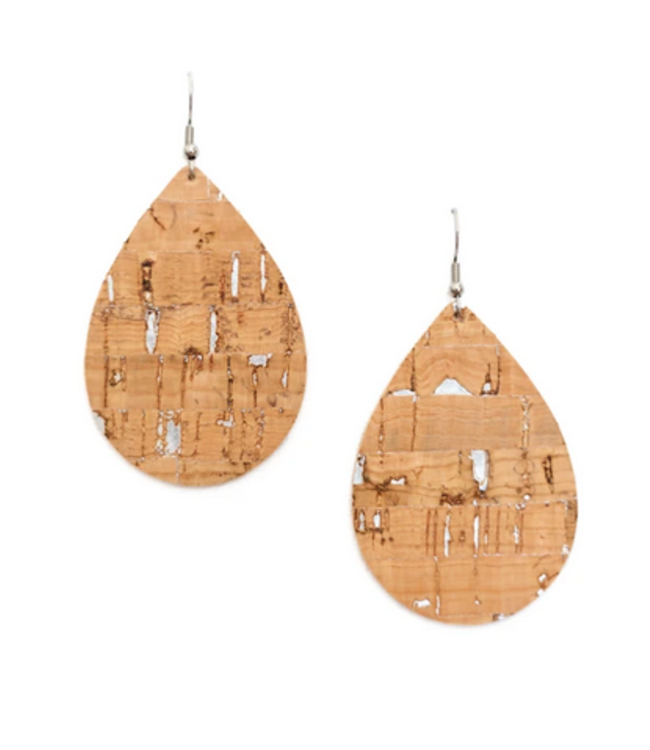Cork House Design Teardrop Earrings- Natural Cork With  Silver Accents
