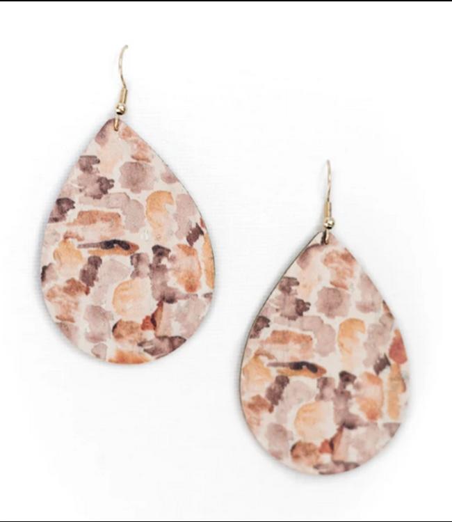 Cork House Design Teardrop Earrings- Autumn Breeze/Burnt Sienna