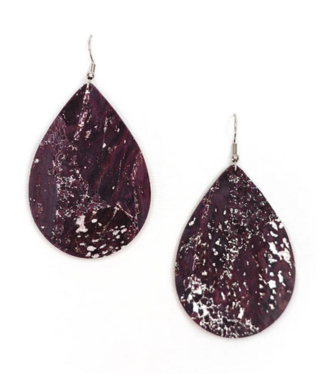 Cork House Design Teardrop Earrings- Mulberry Wave/Cork