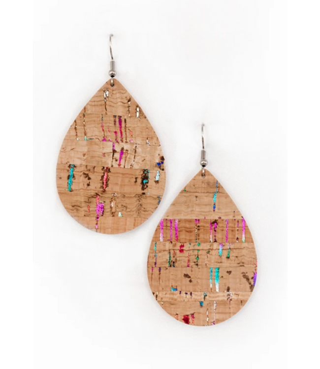 Cork House Design Teardrop Earrings- Natural with Chrome Accents
