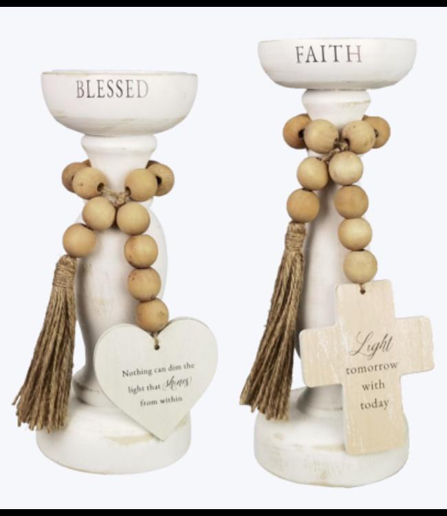 Wood Pedestal Candle Holder- Set of 2
