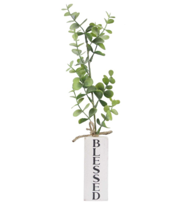 Block Stand with Artificial Plant