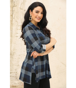 Orange Checkered Button Up Long Sleeve- Blue