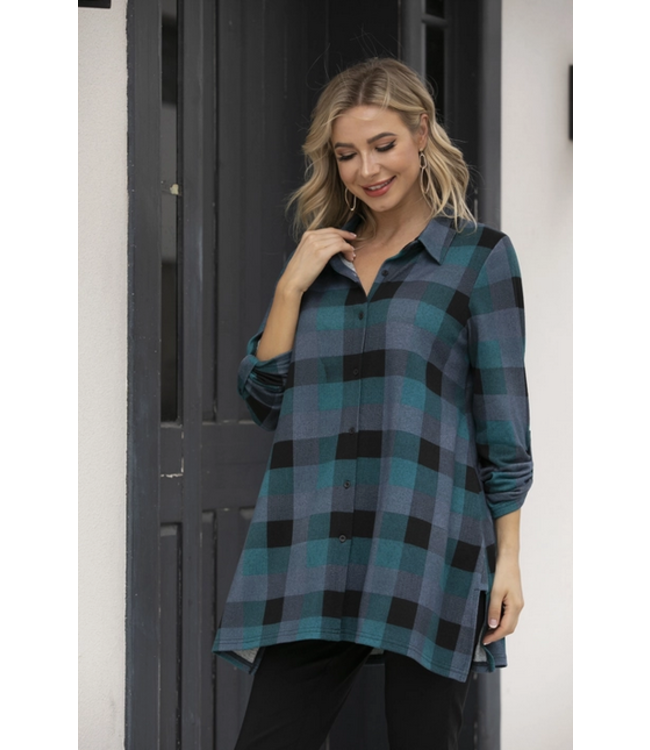 Orange Checkered Button Up Long Sleeve- Teal
