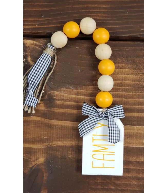 Wood Blessing Beads Finial- Family