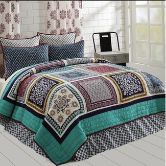 VHC BRANDS Mariposa Queen Size 3 PC Quilt Set 100% Cotton Quilt 2 Shams