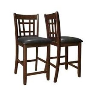"""Coaster 102889 26"""" SET of 2  Counter Height Stool with Padded Leatherette Upholstered Seat, Gridded Back, Stretcher Footrest and Sleek Wood Legs in Espresso and Black"""