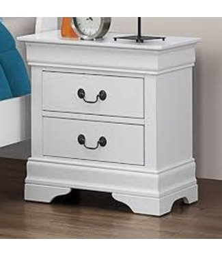 Coaster 204692 Louis Philippe 204 2-Drawer Nightstand with Antiqued Brass Bail Handles, Bracket Feet and Metal on Metal Glides in White Finish