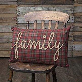 VHC BRANDS Tea Star Red Family Pillow