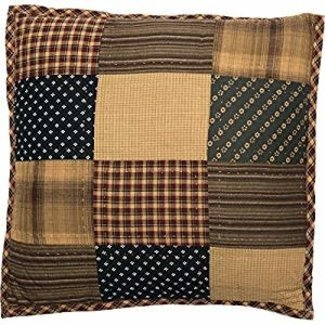 "VHC BRANDS Americana Primitive Pillows & Throws - Patriotic Patch Red Quilted 16"" x 16"" Pillow"""