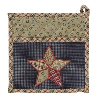 VHC BRANDS Arlington | Pot Holder with Pocket & Patchwork Star 8 x 8 in.