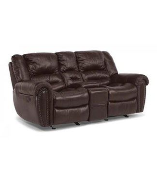 Flexsteel Furniture Crosstown | Leather Gliding Reclining Loveseat with Console