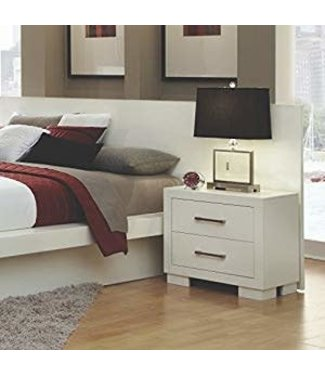 Coaster 202992 Jessica Nightstand with Two Drawers, Solid Wood, Ash Veneers, Dovetail and Side Drawer Consutrction in White