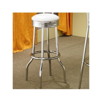Coaster 2299W- SET of 2 Cleveland | Chrome Plated Soda Fountain Bar Stool in White