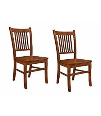 """Coaster 100622-2  18"""" Side Chair with Slatted Back, Stretchers and Hardwood Construction in Sienna Brown"""