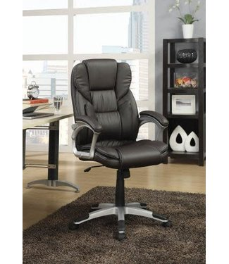 """Coaster 800045 18"""" - 21"""" Office Chair with Adjustable Seat Height, Faux Leather Upholstery, Casters, Padded Seat and Armrests in Dark Brown"""