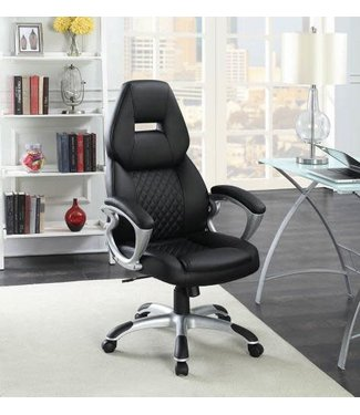 "Coaster 801296 18"" - 22"" Office Chair with Adjustable Height, Faux Leather Upholstery, Casters, Padded Armrest and Seat in Black"