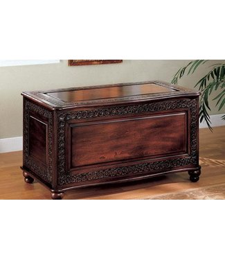 """Coaster 900012 40"""" Cedar Chest with Flip Top Lid, Carved Edges and Bun Feet in Deep Tobacco Finish"""