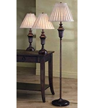 Coaster 901147 Traditional Lamp Set in Dark Brown (A Floor and 2 Table Lamps)
