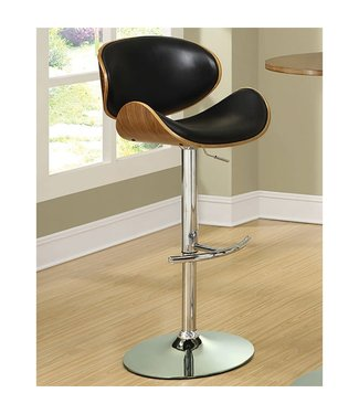 """Coaster 130504 25"""" - 30"""" Barstool with Adjustable Height, Swivel, Faux Leather Upholstery, Chrome Metal Base, Footrest, Padded Seat and Back in Black"""