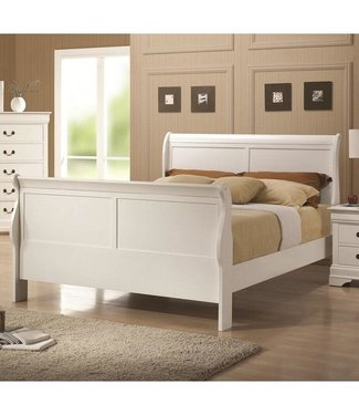 Coaster 204691F Louis Philippe 204 Sleigh Bed with Headboard, Footboard and Side Rails & Slats in White Finish, Full
