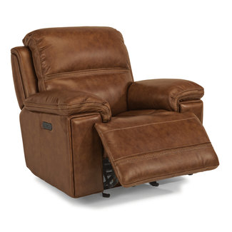 Flexsteel Furniture Fenwick Leather Power Gliding Recliner with Power Headrest 1659-54PH