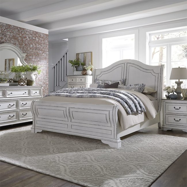 Liberty Furniture Magnolia Manor (244-BR) Queen Sleigh Bed, Dresser & Mirror, Chest, NS SKU: 244-BR-QSLDMCN
